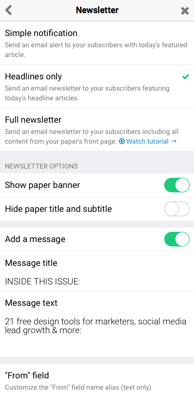 Paperli newsletter settings