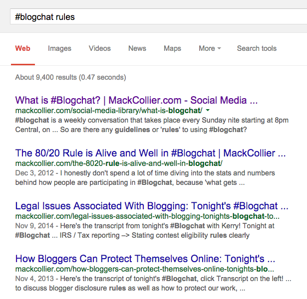 Blogchat search